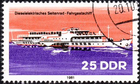 philately: UKRAINE - CIRCA 2017: A postage stamp printed in DDR shows Tugboat, River Boat, circa 1981 Editorial