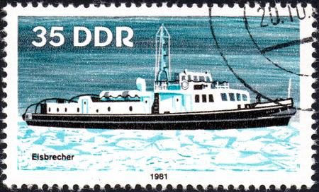 UKRAINE - CIRCA 2017: A postage stamp printed in DDR shows Ice Breaker, River Boat, circa 1981