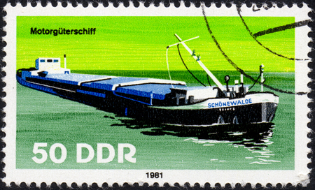 UKRAINE - CIRCA 2017: A postage stamp printed in DDR shows Motor vehicle ship, circa 1981