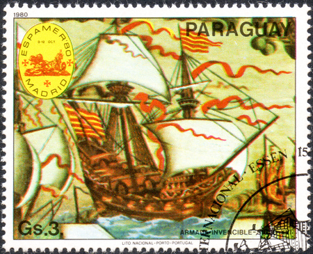 philately: UKRAINE - CIRCA 2017: A postage stamp printed in Paraguai shows Invincible Armada - 16th century, from the series International stamps exhibitions: ship paintings, circa 1980