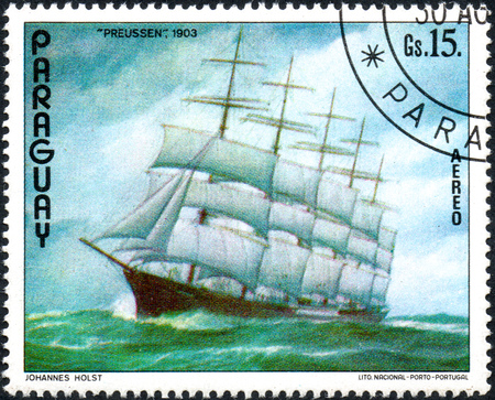 UKRAINE - CIRCA 2017: A postage stamp printed in Paraguai shows ship Prussia 1903, from the series Ship painting, circa 1976