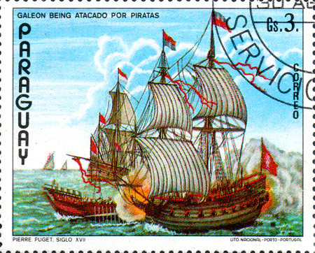 UKRAINE - CIRCA 2017: A postage stamp printed in Paraguai shows Puget galleon pirate ship against, from the series Ship painting, circa 1976 Editorial