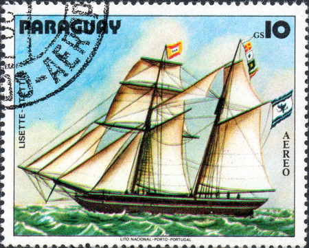 philately: UKRAINE - CIRCA 2017: A postage stamp printed in Paraguai shows ship Saver Lisette, from the series Sailboat painting, circa 1979