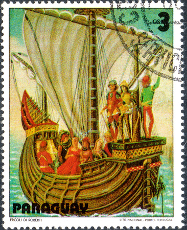 UKRAINE - CIRCA 2017: A postage stamp printed in Paraguai shows Sailing ship, from the series Sailboat painting, circa 1979
