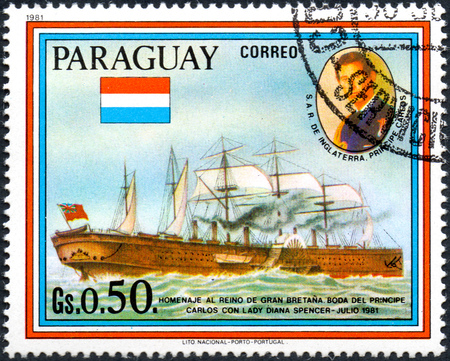 prince charles of england: UKRAINE - CIRCA 2017: A postage stamp printed in Paraguai shows sailing ship SS Great Eastern and Prince Charles, from the series Wedding of Prince Charles and Lady Diana Spencer, circa 1981