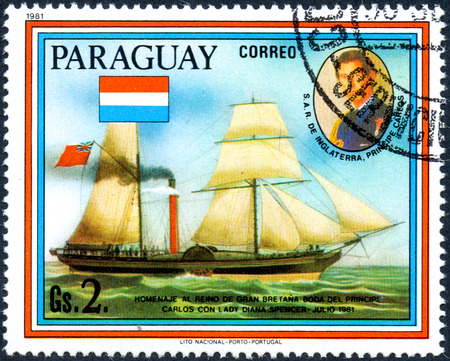 prince charles of england: UKRAINE - CIRCA 2017: A postage stamp printed in Paraguai shows sailing ship William Fawcett and portrait of Prince Charles, from the series Wedding of Prince Charles and Lady Diana, circa 1981 Editorial