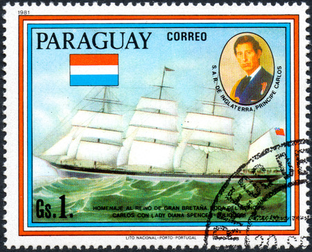 lady diana: UKRAINE - CIRCA 2017: A postage stamp printed in Paraguai shows sailing ship Sindia and portrait of Prince Charles, from the series Wedding of Prince Charles and Lady Diana Spencer, circa 1981
