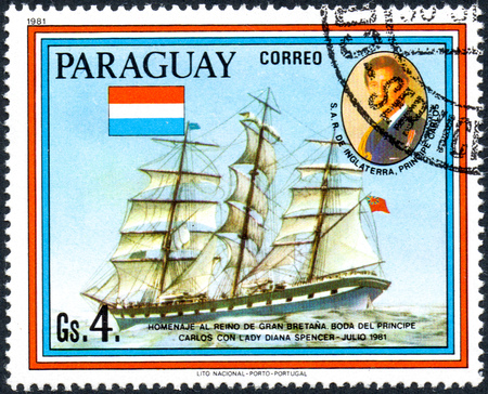 lady diana: UKRAINE - CIRCA 2017: A postage stamp printed in Paraguai shows sailing ship Loch Etive and portrait of Prince Charles, from the series Wedding of Prince Charles and Lady Diana Spencer, circa 1981 Editorial