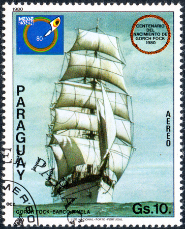 UKRAINE - CIRCA 2017: A postage stamp printed in Paraguai shows sailing ship Gorch Fock, from the series International stamps exhibitions - ship paintings, circa 1980