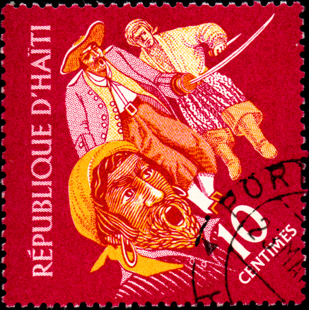 tucker: UKRAINE - CIRCA 2017: A postage stamp printed in Haiti shows three Pirates, from the series Tourism. History of Tortuga Island, circa 1961