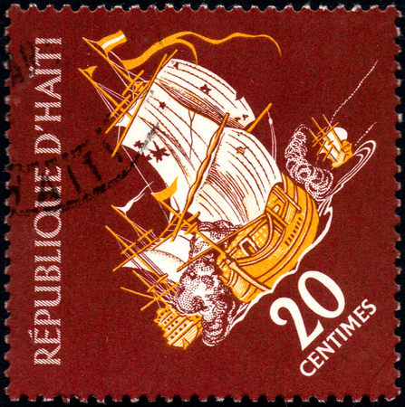 UKRAINE - CIRCA 2017: A postage stamp printed in Haiti shows sailing ship Privateer in Battle, from the series Tourism. History of Tortuga Island, circa 1961 Editöryel