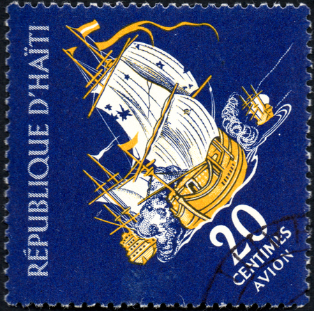 UKRAINE - CIRCA 2017: A postage stamp printed in Haiti shows sailing ship Privateer in Battle, from the series Tourism. History of Tortuga Island, circa 1961 Editorial