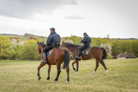 Kyiv, Ukraine - April 23, 2017: Policemen on horseback, a beautiful spring landscape, mounted police, horsemen in the countryside, outdoors. National Museum Pirogovo in the outdoors near Kiev.