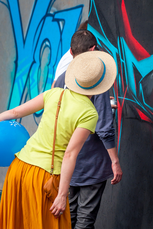 Ukraine, Nikolaev, 24.06.2017: Festival of graffiti dedicated to the Day of Youth on the central square of the city