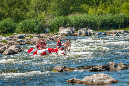 Village Mihia, Mykolayiv region, Ukraine - July 2, 2017: Rafting and kayaking. A popular place for extreme family and corporate recreation as well as training for athletes.