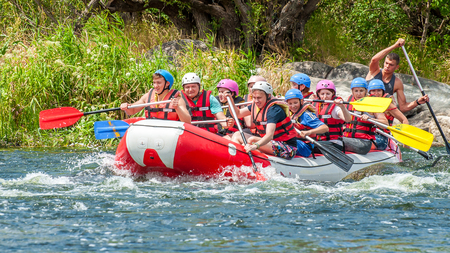 Village Mihia, Mykolayiv region, South Bug River, Ukraine - July 9, 2017: Rafting and kayaking. A popular place for extreme family and corporate recreation as well as training for athletes.