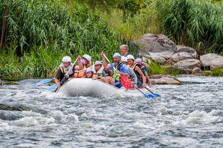 Village Myhia, Mykolayiv region, South Bug River, Ukraine - July 9, 2017: Rafting and kayaking. A popular place for extreme family and corporate recreation as well as training for athletes. Éditoriale