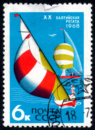 UKRAINE - CIRCA 2017: A postage stamp printed in USSR shows 20th Baltic regata, from the series International Sports Events, circa 1968