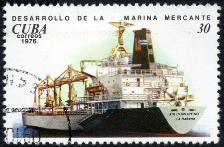 UKRAINE - CIRCA 2017: A postage stamp printed in Cuba shows ship Bulkcarrier XIII Congreso, Development of the merchant marine from the eries Cuban Shipping, circa 1976