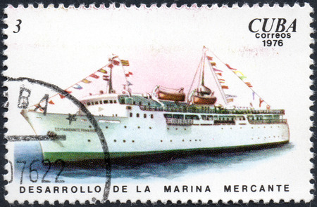 UKRAINE - CIRCA 2017: A postage stamp printed in Cuba shows ship Comandante Pinares, Development of the merchant marine from the series Cuban Shipping, circa 1976 Éditoriale