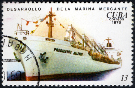 UKRAINE - CIRCA 2017: A postage stamp printed in Cuba shows Development of the merchant marine from the eries Cuban Shipping, circa 1976