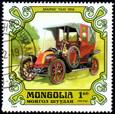 UKRAINE - CIRCA 2017: A postage stamp printed in Mongolia shows motorcar Marne taxi, France, 1914 from the series Antique Cars, circa 1980 Editorial