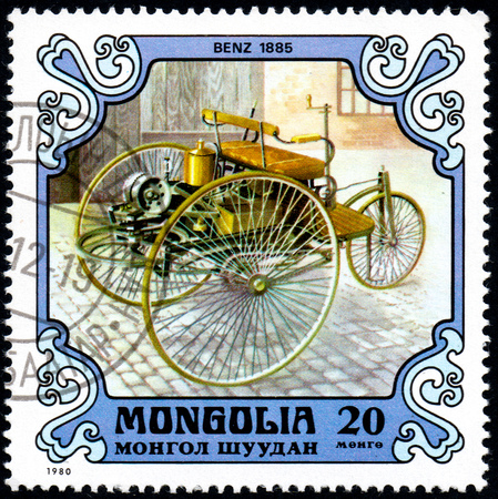 UKRAINE - CIRCA 2017: A postage stamp printed in Mongolia shows motorcar Benz, Germany, 1885 from the series Éditoriale