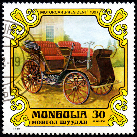 UKRAINE - CIRCA 2017: A postage stamp printed in Mongolia shows motorcar President, Austria-Hungary, 1897 from the series Antique Cars, circa 1980 Éditoriale