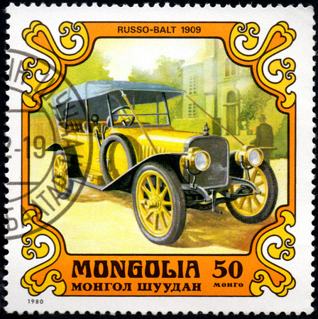 UKRAINE - CIRCA 2017: A postage stamp printed in Mongolia shows motorcar Russo-Balt, 1909 from the series Antique Cars, circa 1980