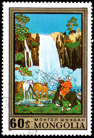 UKRAINE - CIRCA 2017: A postage stamp printed in Mongolia shows Waterfall and horses from the series Paintings by contemporary artists in Ulan Bator Museum, circa 1972 Éditoriale