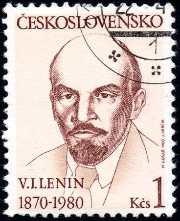 lenin: UKRAINE - CIRCA 2017: A stamp printed in Czechoslovakia shows Portrait of Vladimir Lenin, from series Personality, circa 1980