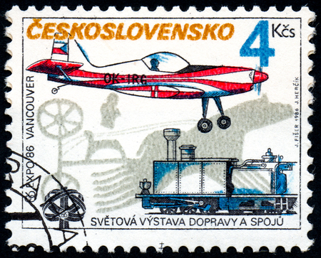 UKRAINE - CIRCA 2017: A stamp printed in Czechoslovakia shows EXPO 86 Vancouver, from series EXPO World Exhibition, circa 1986 新聞圖片