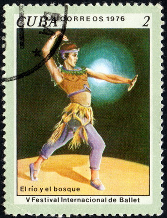 UKRAINE - CIRCA 2017: A stamp printed in Cuba shows The River and the Forest, 5th International Ballet Festival from series International Ballet Festival, circa 1976