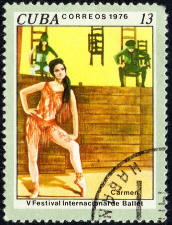 postmark: UKRAINE - CIRCA 2017: A stamp printed in Cuba shows Carmen, 5th International Ballet Festival from series International Ballet Festival, circa 1976