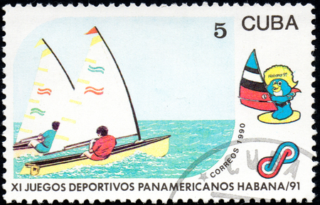 UKRAINE - CIRCA 2017: A postage stamp printed in Cuba shows Sailing from series 11th Pan American Games, circa 1990