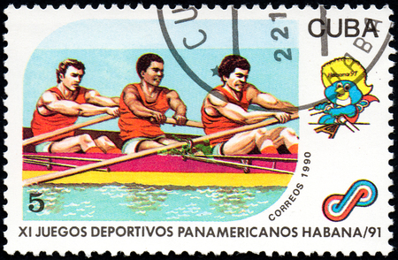 11th: UKRAINE - CIRCA 2017: A postage stamp printed in Cuba shows Rowing from series 11th Pan American Games, circa 1990