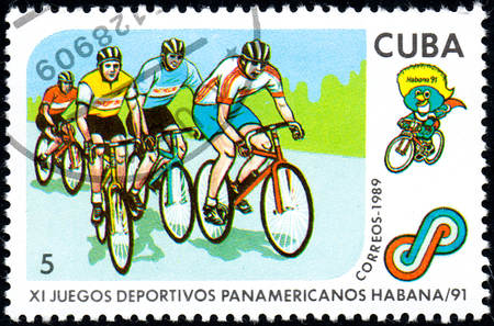 UKRAINE - CIRCA 2017: A postage stamp printed in Cuba shows Cycling from series 11th Pan American Games, circa 1989