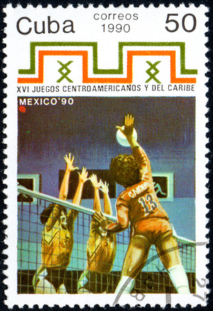 postmark: UKRAINE - CIRCA 2017: A postage stamp printed in Cuba shows Volleyball from series 16th Central American and Caribbean Games, circa 1990
