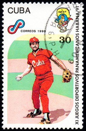 UKRAINE - CIRCA 2017: A postage stamp printed in Cuba shows Baseball from series 11th Pan American Games, circa 1990 Editorial