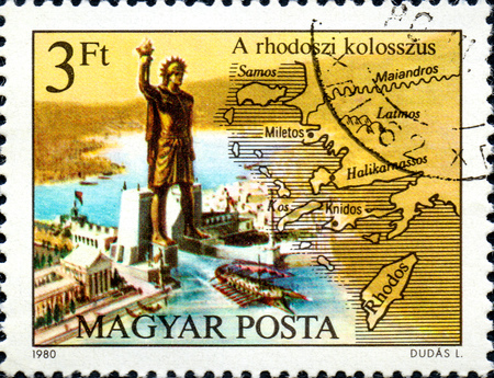 UKRAINE - CIRCA 2017: A postage stamp printed in Hungary shows Colossos of Rhodes, from series Seven Wonders of the Ancient World, circa 1980