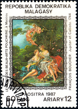 UKRAINE - CIRCA 2017: A postage stamp printed in Madagascar shows Francois Boucher: Jupiter and Callisto 1744, from series Paintings from Pushkin-Museum, Moscow, circa 1987