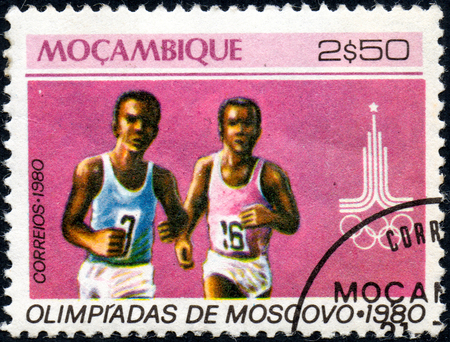 UKRAINE - CIRCA 2017: A postage stamp printed in Mozambique shows Running, from series Summer Olympic Games 1980, Moscow, circa 1980