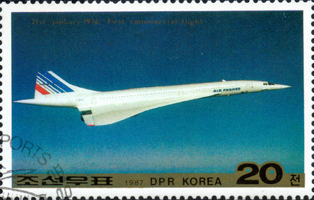 UKRAINE - CIRCA 2017: A postage stamp printed in North Korea shows Concorde jetliner, from series Airplanes, circa 1987