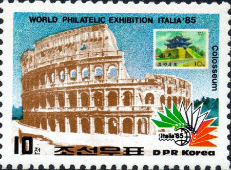 ??????? - CIRCA 2017: ???????? ?????, ???????????? ? ???????? ?????, ?????????? Coliseo, Roma, ?? ????? Exposición internacional de sellos ITALIA 85, ????? 1985 ????
