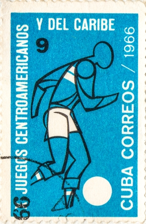 UKRAINE - CIRCA 2017: A postage stamp printed in Cuba shows Soccer, from series 10th Central American and Caribbean Games, circa 1966