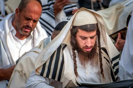 Prayer. Hasids pilgrims in traditional clothes. Uman, Ukraine - September 21, 2017: Rosh-ha-Shana festival, Jewish New Year.