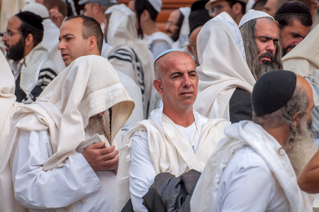 Mass prayer. Hasids pilgrims in traditional clothes. Uman, Ukraine - September 21, 2017: Rosh-ha-Shana festival, Jewish New Year. Editorial
