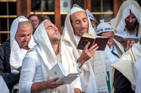 Prayer. Hasids pilgrims in traditional clothes. Uman, Ukraine - September 21, 2017: Rosh-ha-Shana festival, Jewish New Year.