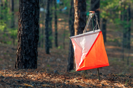 Orienteering. Control point Prism and composter for orienteering in the autumn forest. The concept. Stock Photo - 90460416