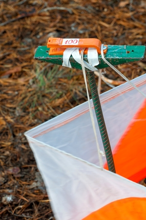 Orienteering. Control point Prism and composter for orienteering in the autumn forest. The concept. Stock Photo